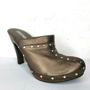 MICHAEL KORS  Leather Studded Wooden Heels Clogs